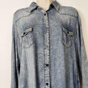 leshop denim vintage shirt dress large pockets